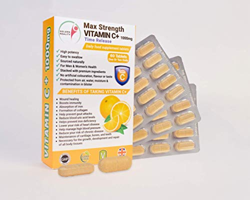 Max Strength Vitamin C+ 1000mg (Time Release) Supplements | High Potency | Contributes to Normal Immune System, Skin, Teeth, Gums & Joints | Made from Quality Natural Ingredients | Made in The UK