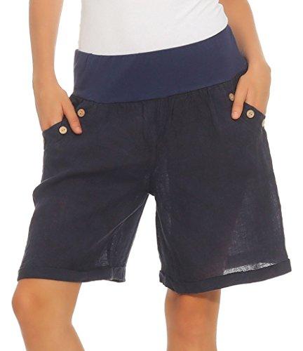 Mississhop 280 Damen Leinenshorts Bermuda lockere Kurze Hose Freizeithose 100% Leinen Shorts mit DREI Knöpfen Sommer Strand Dunkelblau XXL