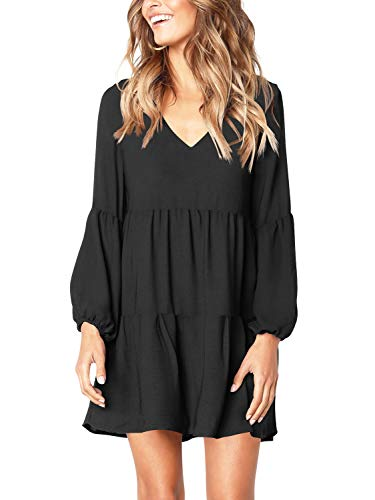 Amoretu Women's Deep V Neck Loose Shift Pleated Tunic Dress Long Sleeves Black S