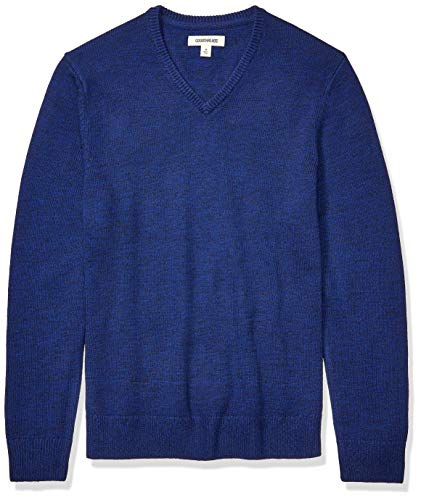 Amazon Brand - Goodthreads Men's Supersoft Marled V-Neck Sweater, Bright Blue Large