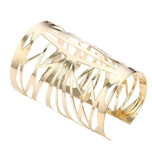 PiniceCore Hohlbreit Stulpe-armbänder Gold Silber-Legierung Öffnen Big Armreif Schmuck Persönlichkeit Cuff Accessoires Für Frauen Mädchen Goldene