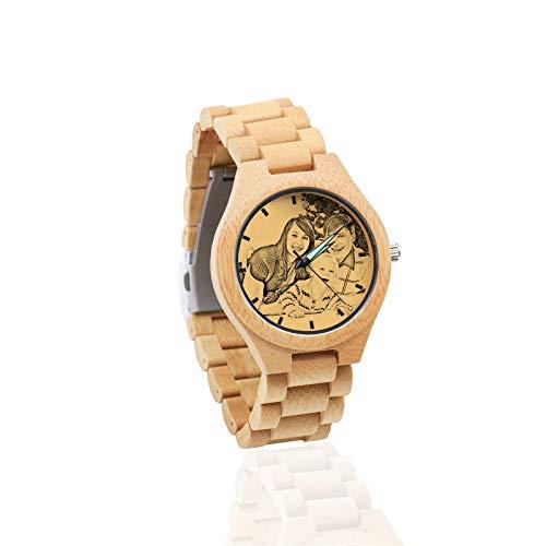 Reloj De Fotos Reloj Personalizado Reloj De Hombre Reloj De Mujer Reloj De Pareja Reloj De Navidad Cumpleaños Aniversario Regalo Personalizado(Marrón 39mm para Mujeres)