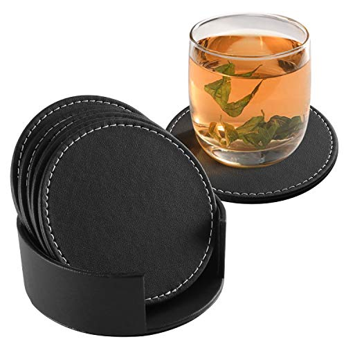 Fippy Untersetzer Set 6 Stücke PU Leder Untersetzer Rund für Getränke, Leder Glasuntersetzer Getränkeuntersetzer Coaster für Gläser, Coffee, Bar, mit Untersetzer Halter