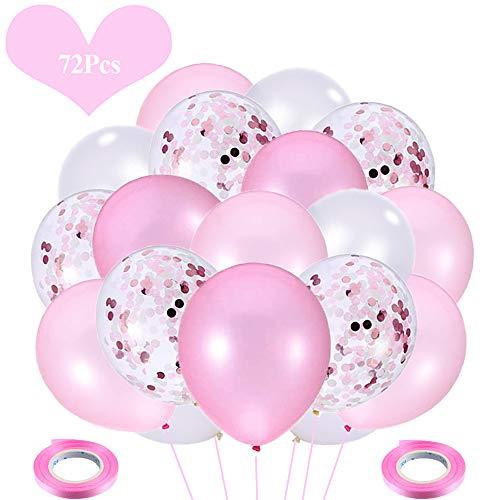 JWTOYZ 72 Stück Luftballons Grün Blau Rosa Weiß Konfetti Ballons mit Band für Geburtstag, Babyparty, Hochzeit - Rosa