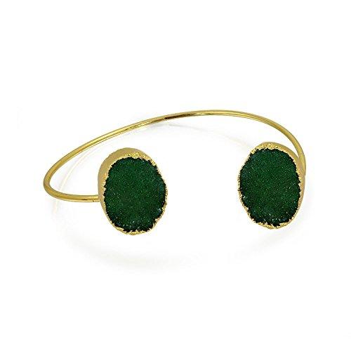 Bling Jewelry Mode Edelstein Organischen Dunkelgrün Druzy Armreif Armspange Armband Für Dünne Damen 14K Vergoldet Metall
