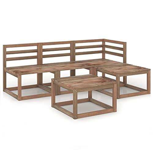 vidaXL Madera Pino Impregnado Set de Muebles de Jardín 5 Piezas Mobiliario Patio Exterior Terraza Balcón Hogar Sofá Silla Asiento Duradero Marrón