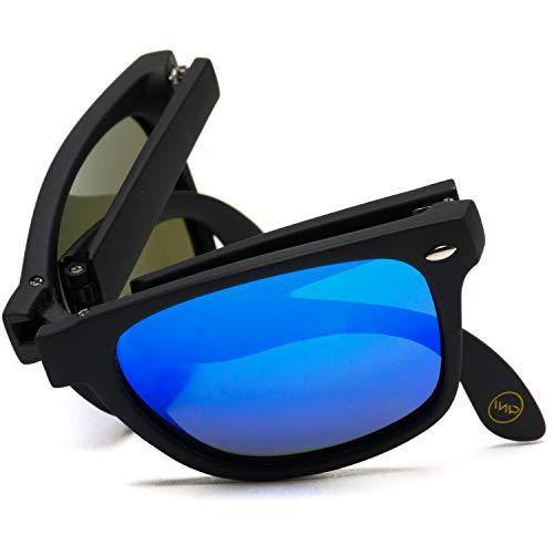 Modern Black Square Foldable Sunglasses with Case (Black Frame/Mirror Blue Lens)