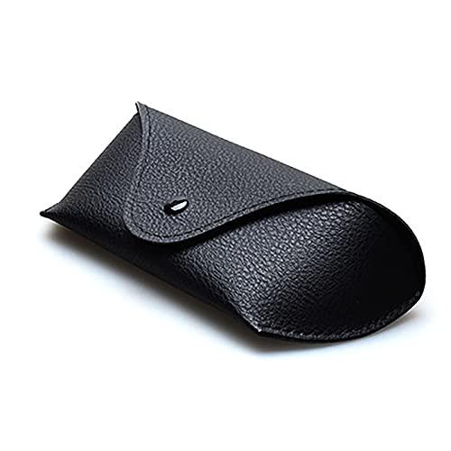 QYHSS Caja de Gafas de Cuero Suave Ultraligero Retro, Caja de Gafas de Sol, Caja de Myopia, Caja de Almacenamiento de Gafas de Sol portátil para Hombres y Mujeres, 16 cm * 5.5cm * 3.5cm-Black A