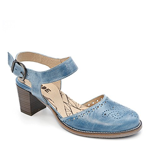 DKODE BAAKO - Offene Schuhe mit perforierten Motiven, Blau - Jean - Größe: 40 EU