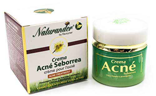 Naturandor Acné crema 50ml   Elimina el Acné y Previene su Aparición   Indicada Para Cutis grasos, acné, Comedones, Puntos negros y Espinillas   Hombre / Mujer