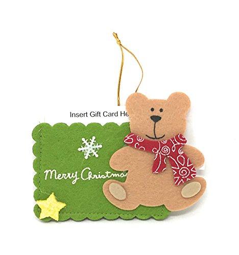 Nantucket Home Merry Christmas 3D Felt Gift Card Holder Ornament (Teddy Bear)