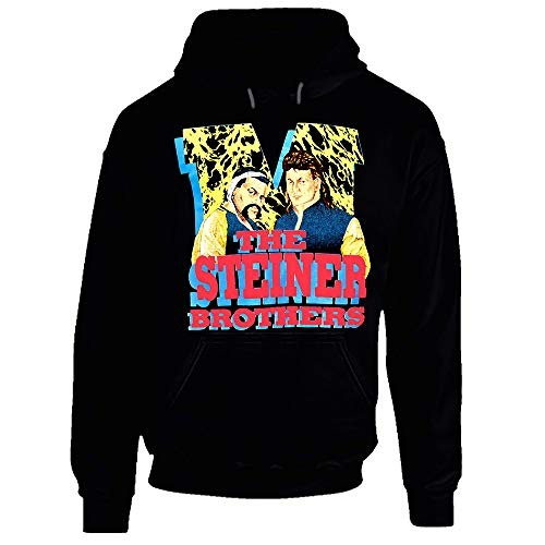 The Steiner Brothers Retro Wrestling Hoodie. Gr. Medium, Schwarz