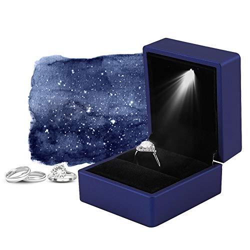 Led-licht ring box, 4 kleuren modieuze LED verlichte ring opbergdoos sieraden vitrine geschenk 03