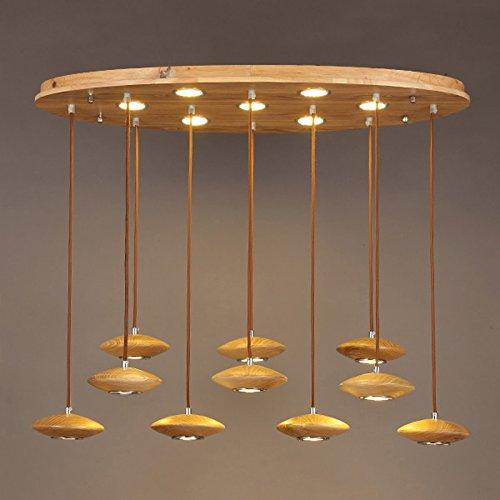 WINZSC Nouveau Design créatif Bois Pendentif lumière Bar Restaurant Lobby créatif Soucoupe Volante LED Solide Bois Pendentif Lampes ZA1110726