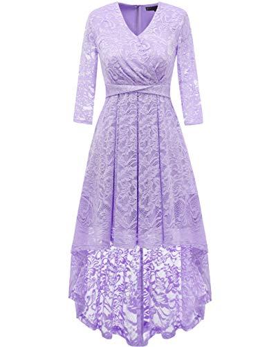 DRESSTELLS Women's Vintage Floral Lace 3/4 Sleeves Dress Hi-Lo Cocktail Party Swing Dress Lavender L