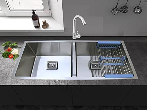 Prestige Double Bowl Hand Made Kitchen Sink, Silver, Matte Finish