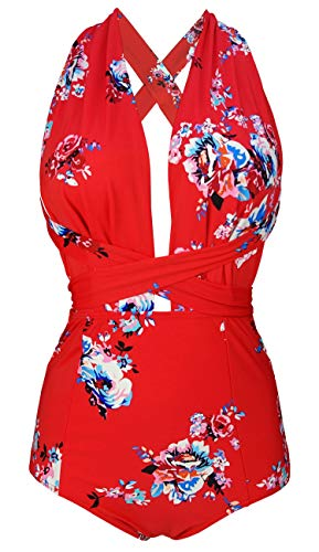 COCOSHIP Red & White & Jade Pink Garden One Piece V-Neck Swimsuit Bather High Waisted Criss Cross Swimwear Beachwear XXXL(US14)