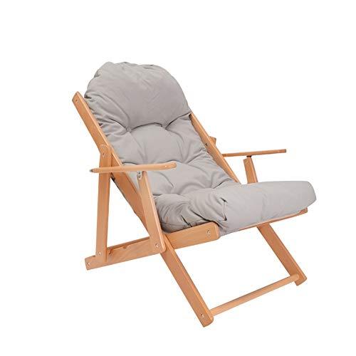 ECSD Fauteuil Lounge en Bois Massif Pliant Bureau Adulte Unique Sieste Chaise De Balcon (Couleur : Gray)
