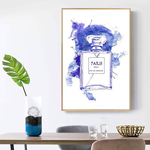 xiaoshicun Leinwand Malerei Leinwand Wandkunst Druck auf Leinwand Leinwand Wandkunst Parfüm Flasche und Blume Wohnkultur Wandkunst 50x70cm (Rahmenlos)