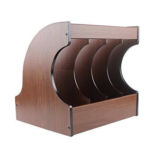 Tipo de cajón de madera de cuatro rejillas Estante de almacenamiento LP Almacenes de video Soporte de exhibición de CD Marco de organización de documentos de aula de estudiantes ( Color : Brown )