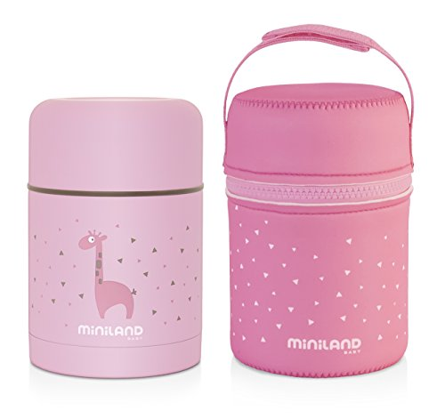 Miniland Isolierbehälter 600ml für Babynahrung - SILKY FOOD THERMOS ROSE, rosa