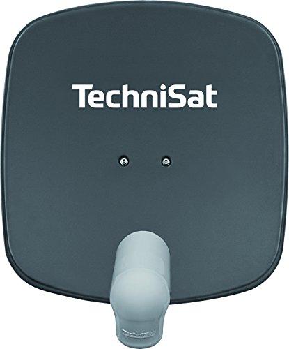 TechniSat SATMAN 45 - Satellitenschüssel für 1 Teilnehmer (45 cm Sat Spiegel mit Wandhalterung und UNYSAT-Single-LNB) grau