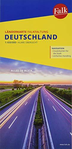 Falk Länderkarte Deutschland FalkFaltung 1:650 000: NAVIGATION / Zusatzkarten für die Stadt / einfaches Handling (Falk Länderkarten Falkfaltung)