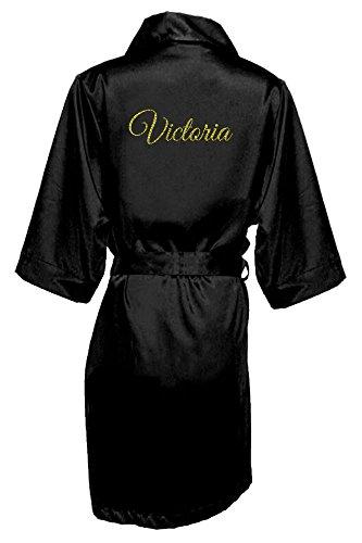 Girl ExtraOrdinaire Women's Personalized Glitter Print Satin Robe Name or Phrase - Bride & Bridesmaid Kimono Robe