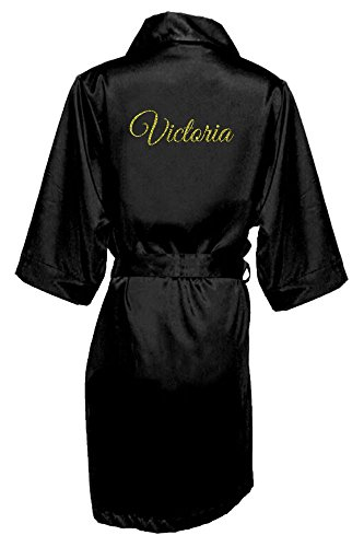 Women's Black Satin Custom Name in Glitter Robe S/M 4-12