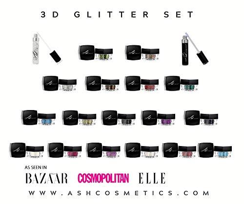 Ash Cosmetics 17 tonos de purpurina 3D Plus ambos imprimadores para ojos y cuerpo en un juego de regalo