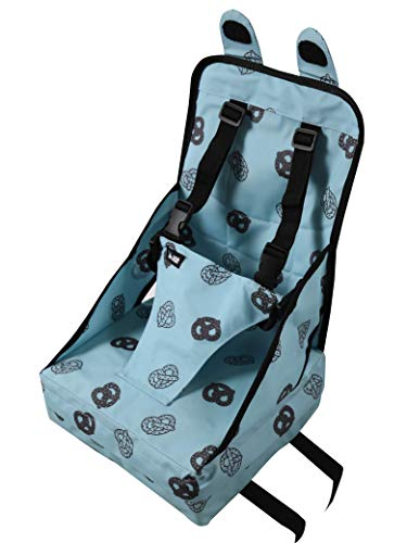Minene UK Portable Dining Booster Cushion, Lightweight, Portable with Safety Straps, Aqua Pretzel