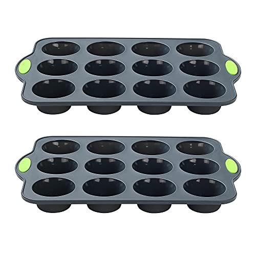 To encounter Silicone Cupcake Baking Cups, Non Stick 12 Cups Muffin Cupcake Pan, Food Grade Silicone Baking Cups with Metal Reinforced Frame More Strength, Set of 2