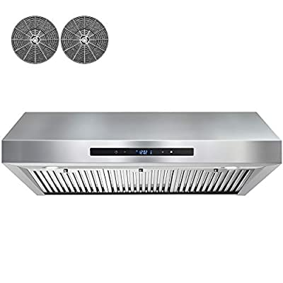 AKDY 350 CFM Ducted Under Cabinet Range Hood in Stainless Steel with Touch Control,LEDs and Carbon Filters (36 in.)