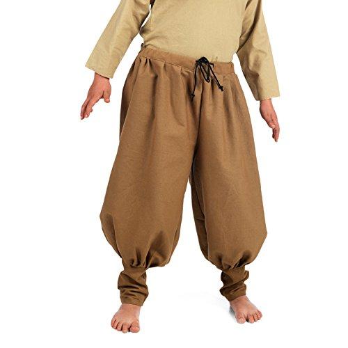 Elbenwald Pantalon Médiéval pour Enfants Lin Brun Chevalier Écuyer Noble Vêtement pour Garçons Brun Clair - 7/9 Jahre