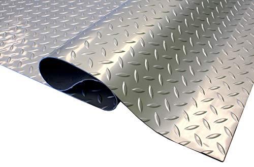 IncStores 1.6mm Thick Standard-Grade Nitro Roll Garage Floor Mat | Flexible Vinyl Floor Mat for a Stronger and Safer Garage, Workshop, or Trailer | Diamond-Plate, Stainless Steel, 7.5' x 20'