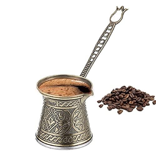 Handmade Turkish Coffee Pot, Vintage Moka Pot, Espresso Maker for the Stove Top, Camping Coffee Pots, Greek Arabic Coffee Maker, Cezve with Brass Handle, Ibrik Briki, 3 cups, 8 fl oz (Antique Gold)