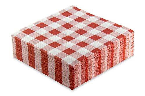 MORIGAMI Servilleta 40x40, 2 capas, pliegue 1/4, 50 servilletas, punta-punta, Cuadros Rojos (SER42117651)