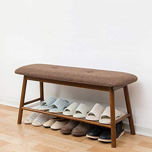 Taburete de bambú para cambio de zapatos con perchero, banco de zapatos otomano estante de almacenamiento de zapatos organizador zapatero sala de estar pasillo de casa-b 91x30x165cm (36x12x65inch)
