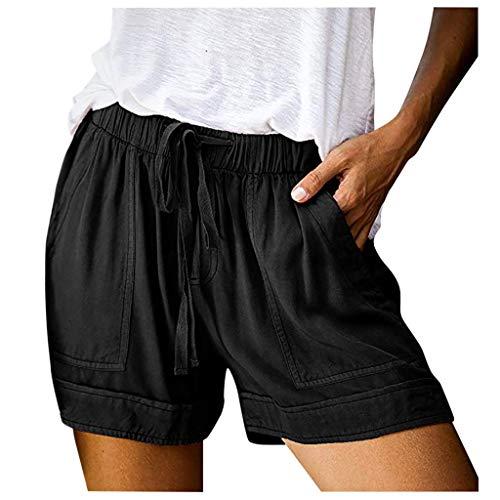 HDUFGJ Damen Sommer Shorts Kurze Hose mit Schleife zum Elastischer Bund Uni-Farben Lässige Shorts26 W/13.8 L(Schwarz)