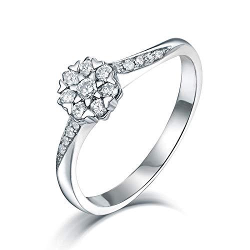 AnazoZ Anillo de Mujer con Diamante,Anillos de Mujer de Oro Blanco 18 Kilates Plata Flor con Redondo Diamante 0.26ct Talla 20