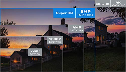 【Audio】 ONWOTE 5MP 8CH PoE Security Camera System Outdoor, 8 Channel 5MP HD H.265 NVR, (4) 5MP 2592x1944P HD IP Cameras, 100ft IR, Add 4 More Cameras, Remote Home Monitoring System