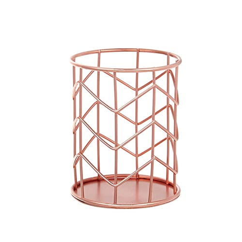 Papelería Metal Gold Rose Gold Desktop Pen Holder for School Boy Girl Gift Office Accessories Organizador Maquillaje Pincel Lápiz Blan Pot Poder Soporte Escritorio (Color : Rose gold 01)