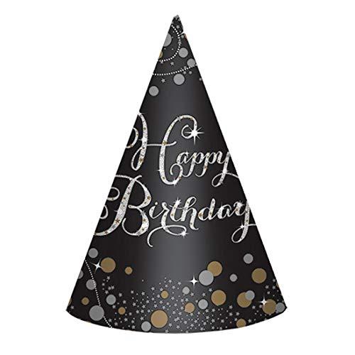 NET TOYS 8 Elegante Happy Birthday Partyhütchen - Schwarz 18cm hoch - Außergewöhnliche Party-Kopfbedeckung Geburtstagshüte - Genau richtig für Geburtstagsfeier & Mottoparty