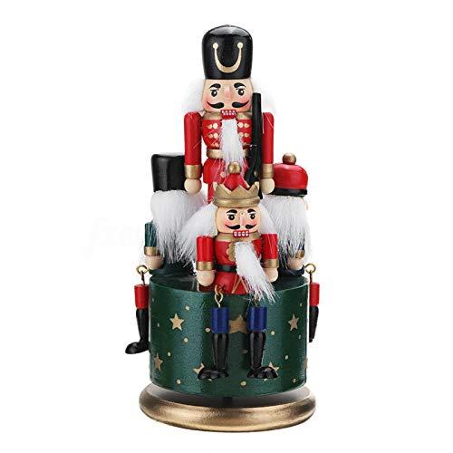 CHENGAI DIY Nutcracker Soldier Music Box, Wooden 4 Soldiers Wind Up Musical Box w/Clockwork & Round Base Festive Christmas Decor Kids Birthday Gift