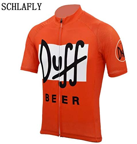 Duff Beer Ciclismo Maglia Arancione Usura Bici Jersey Birra Vestiti di Riciclaggio Maglia Manica Corta Strada retrò Estate Zzzb (Color : Style Photos, Size : 5XL)