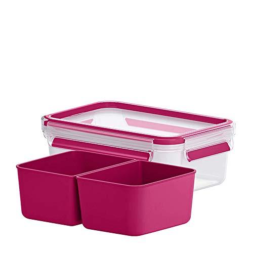 EMSA Snackbox mit 2 Einsätzen Clip & Go Frischhaltedose, Frischhaltebox, Vorratsdose Himbeer
