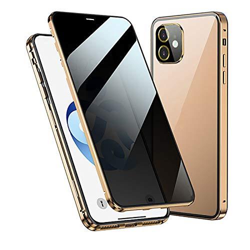 WYZDQ Funda Magnética De Privacidad para iPhone 12/12 Pro/12 Mini/12 Pro MAX, Cubierta Anti-Mirón Pantalla Completa De Vidrio Templado Frontal Y Posterior Funda Anti-Espía,Oro,for iPhone12 Pro MAX