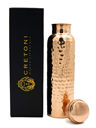 Cretoni Copperlin Pure Copper Water Bottle : Glossy Hammered Seemless Leak Proof Design : Perfect Ayurvedic Copper Vessel for Sports, Fitness, Yoga, Natural Health Benefits (900 Milliliter/30 Ounce)