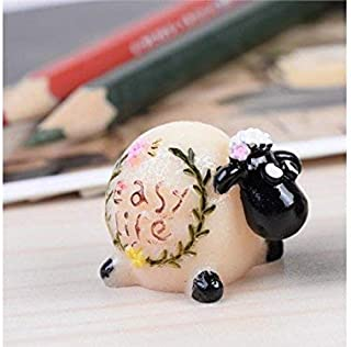 JINGB Dollhouse Ornaments Decoration DIY Miniature Cute Sheep Garden Micro Landscape Bonsai (Black+White)