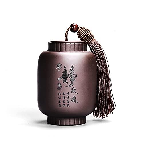 Baobaoshop Contenedor de Alimentos de Tarro de té Tradicional Chino con decoración Coffee Tea Azúcar Set Pequeñas Especias Caja de Almacenamiento para la Cocina Puede (Color : Ningjingzhiyuan)
